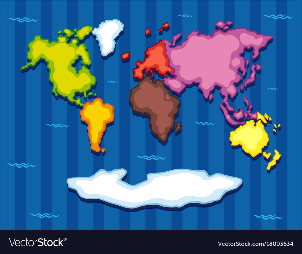 World map with seven continents royalty free vector image world map with seven continents vector image gumiabroncs Image collections