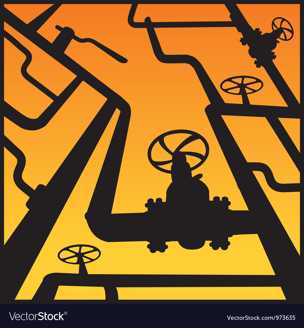 Gas valves over sunset vector image