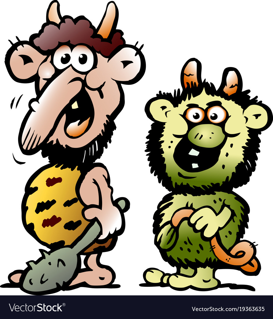 Cartoon of two funny goblins or trolls monsters vector image