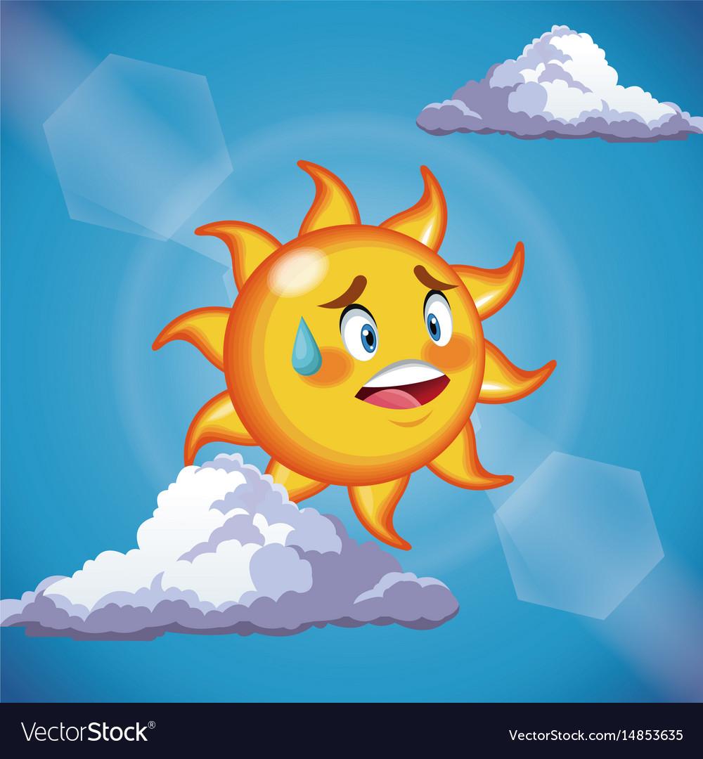 Character sun sweat cute face - cartoon in the vector image