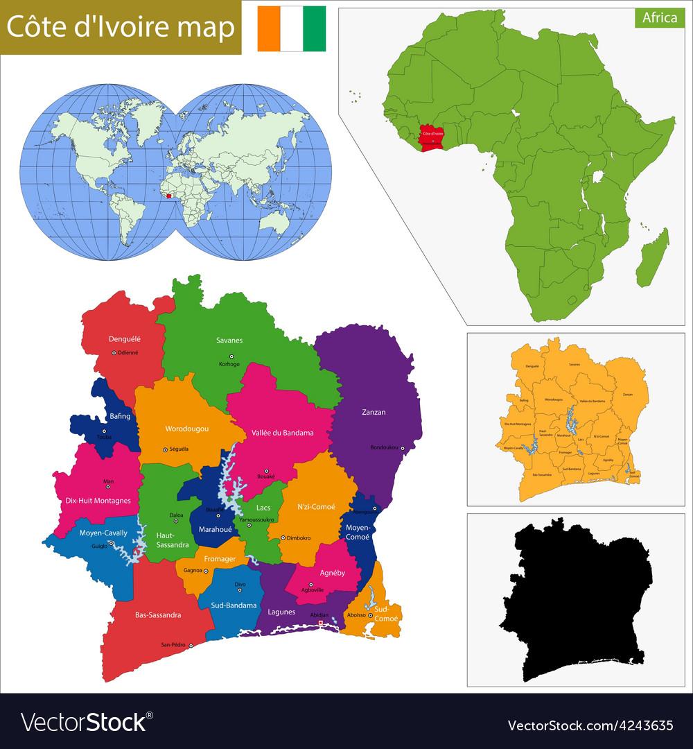 Ivory Coast map Royalty Free Vector Image VectorStock