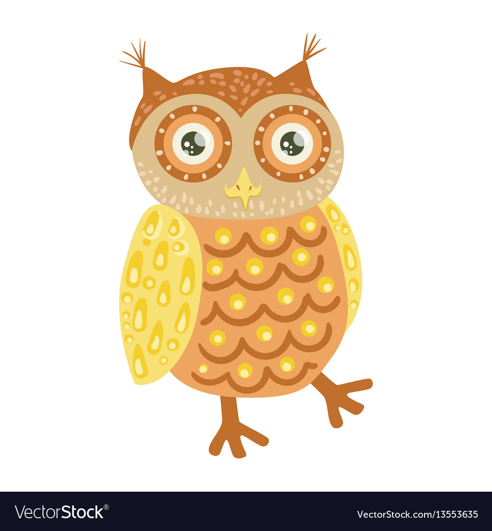 Owl cute toy animal with detailed elements part of vector image