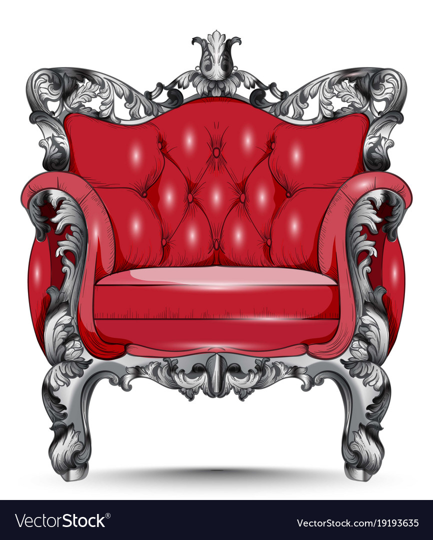 Red Baroque Armchair Furniture With Victorian Vector Image
