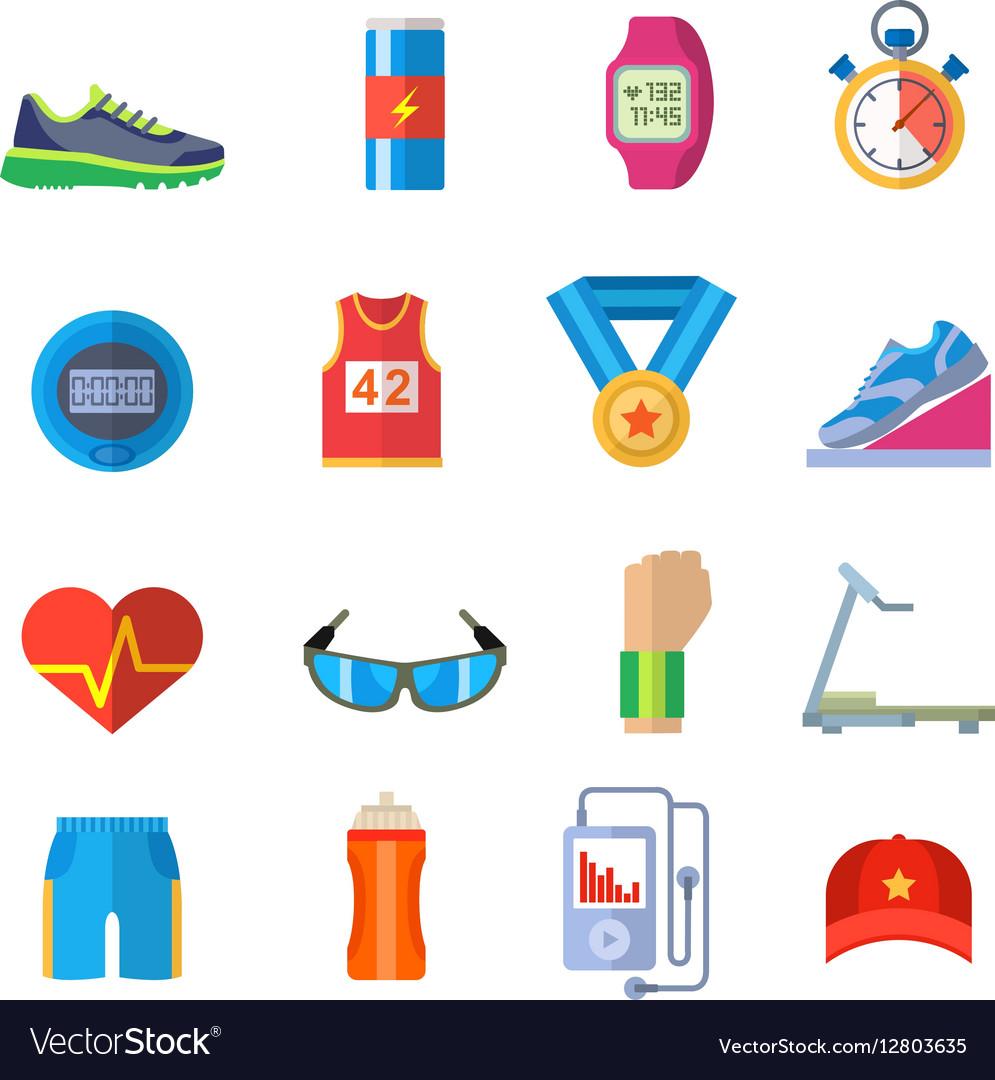 Run sport accessory icons set vector image
