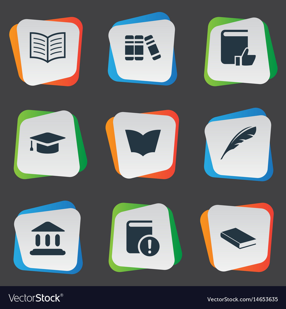 Set of simple reading icons vector image