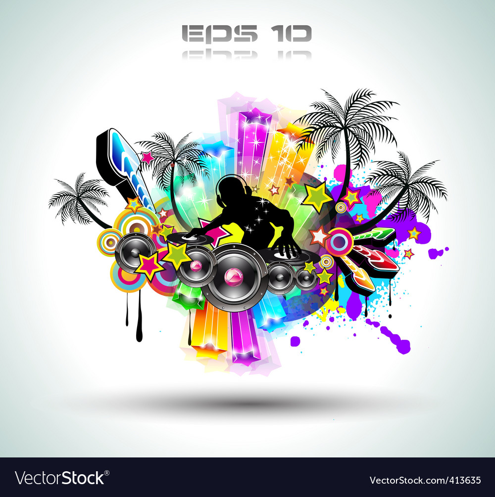 Tropical music party vector image