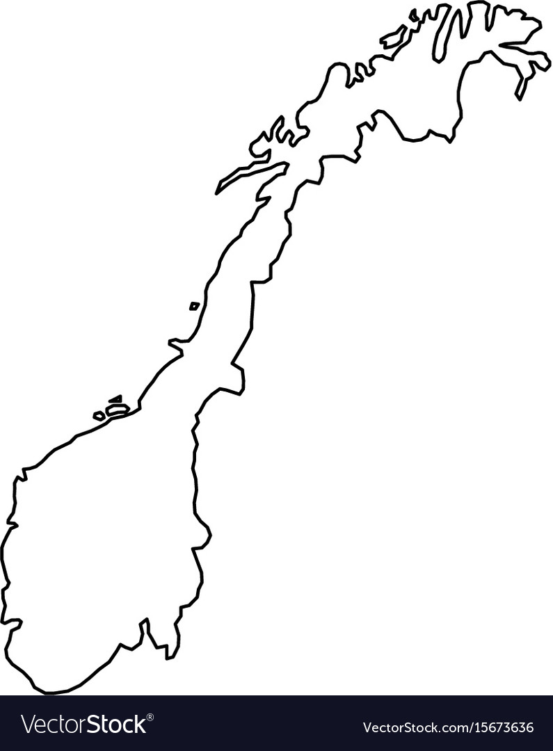 Norway map of black contour curves of vector image