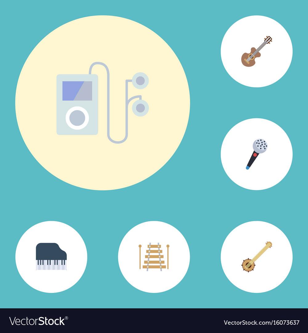 Flat icons octave keyboard banjo musical vector image