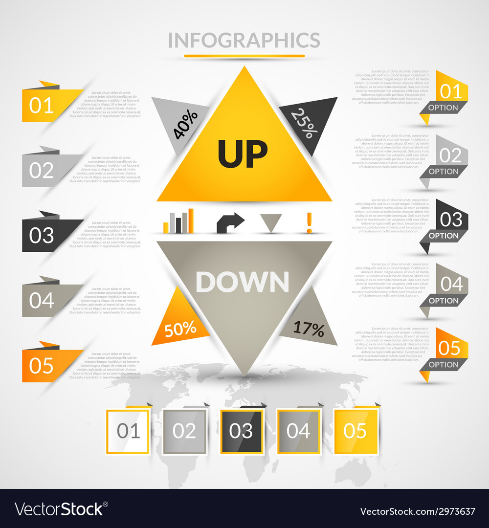Origami infographic elements vector image