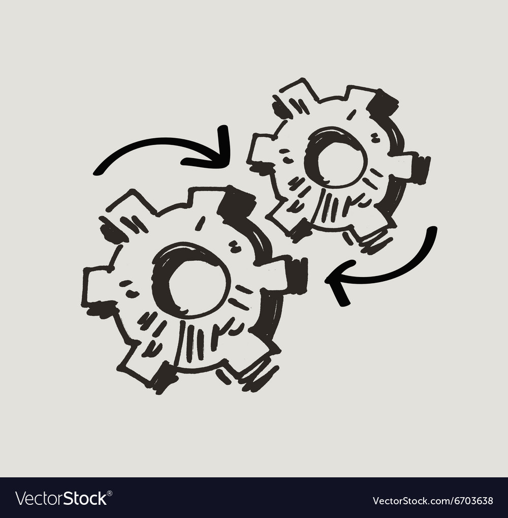 Gear mechanism or work doodle vector image