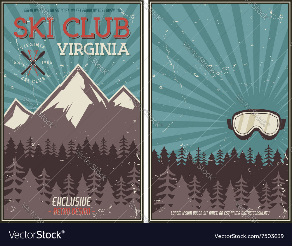 Retro summer or winter holiday poster Travel and vector image