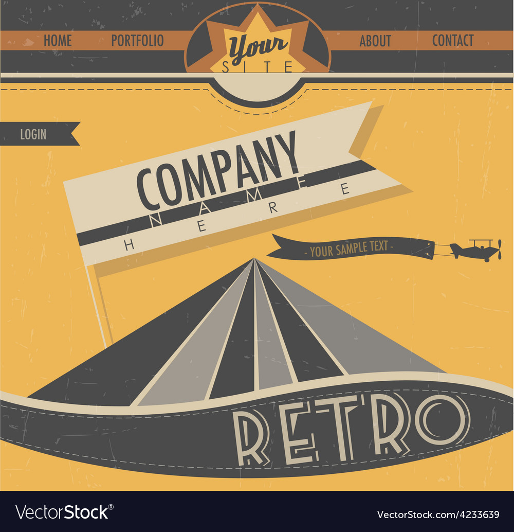 Website template in retro style vector image