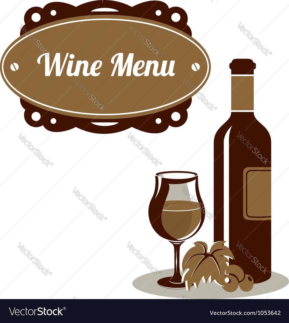 Red wine menu icon vector image