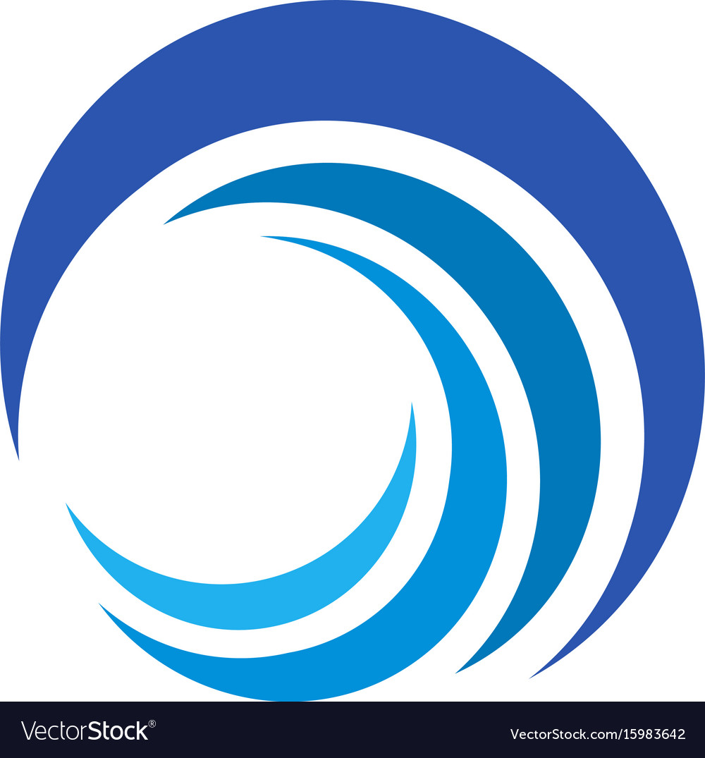 Blue wave logo isolated abstract decorative vector image
