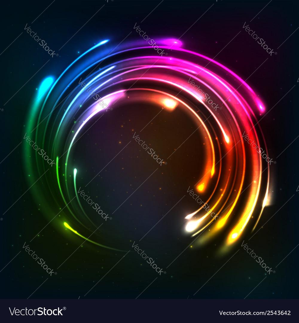 Shining rainbow neon lights circle frame vector image