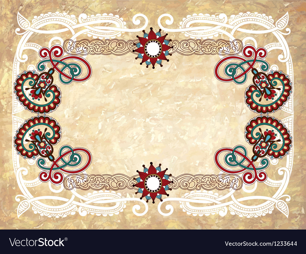 Vintage frame in grunge background vector image