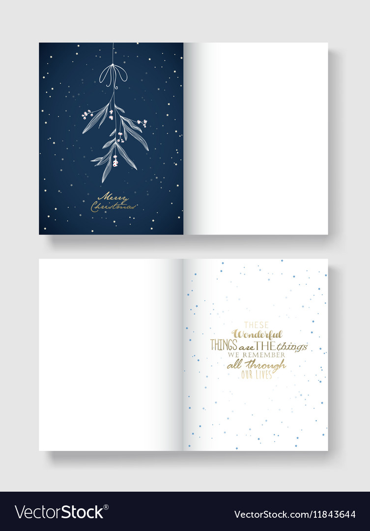 Christmas greeting card template with hanging vector image