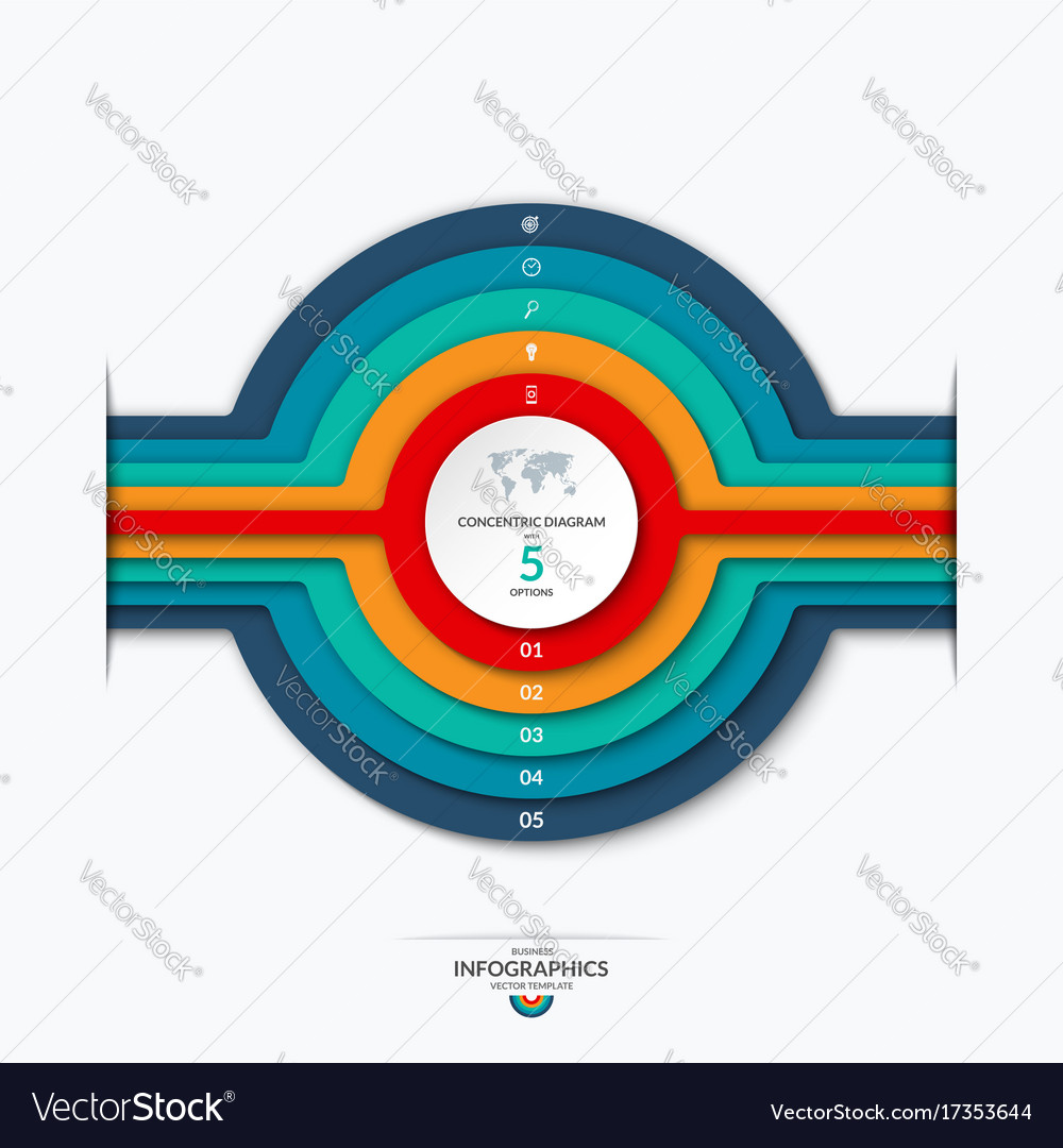 Concentric circles diagram for infographics vector image pooptronica Choice Image