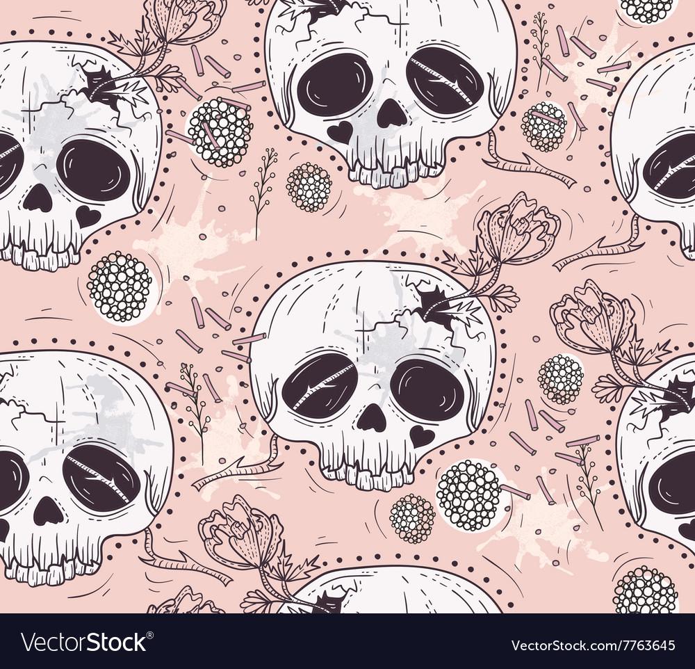 Cute tattoo style skull seamless patten vector image