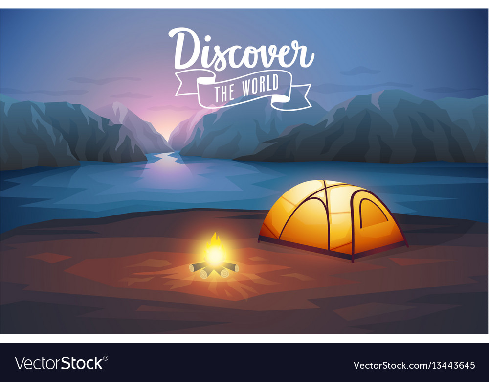 Discover the world poster night landscape with vector image