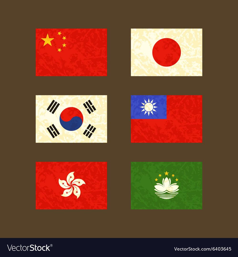 Flags of China Japan South Korea Taiwan Hong Kong vector image