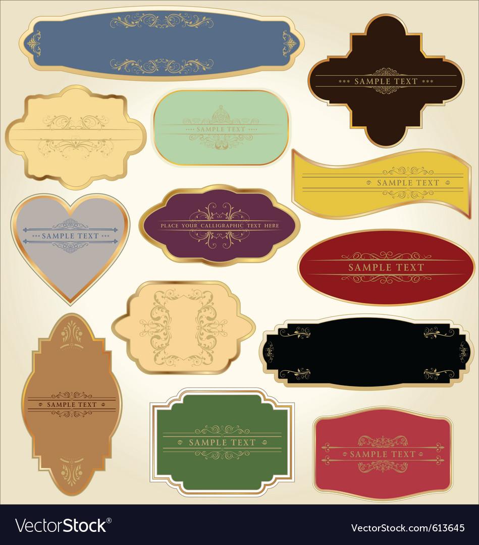 Pastel vintage labels vector image