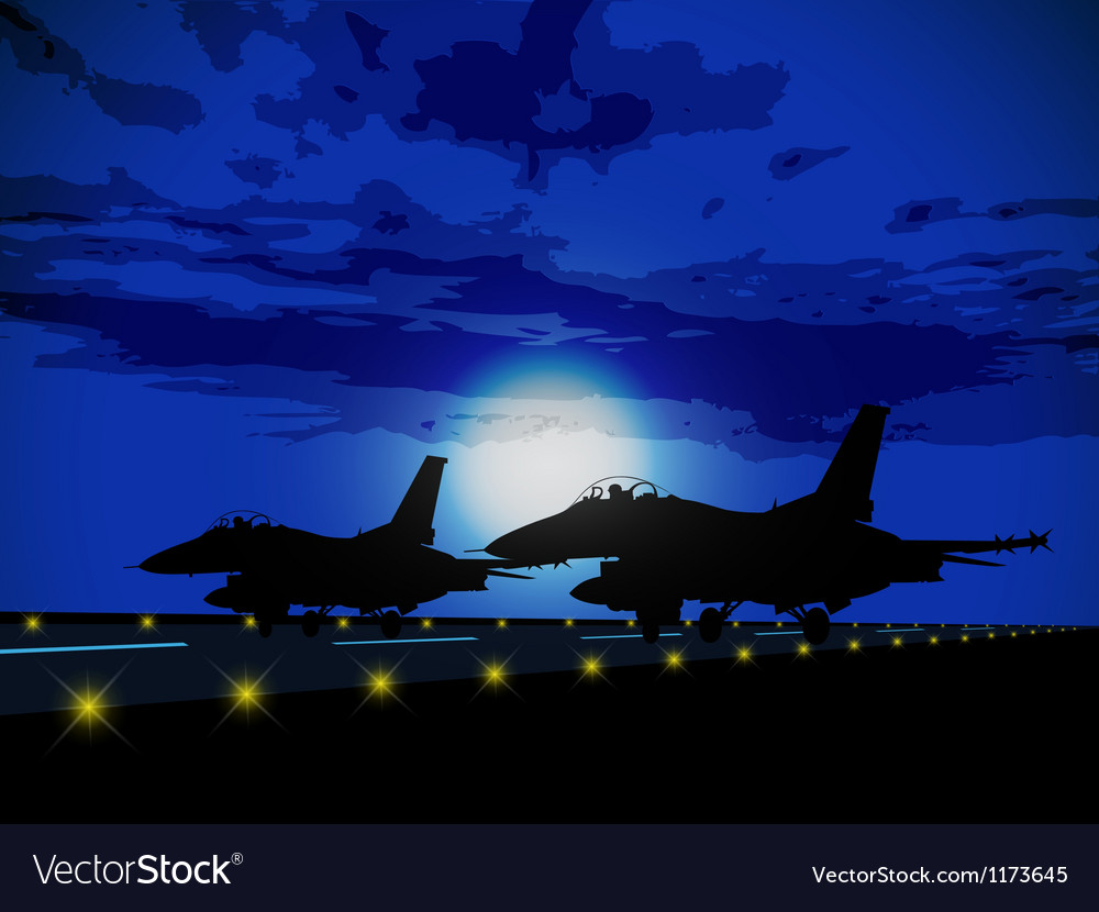 Silhouettes of military planes vector image