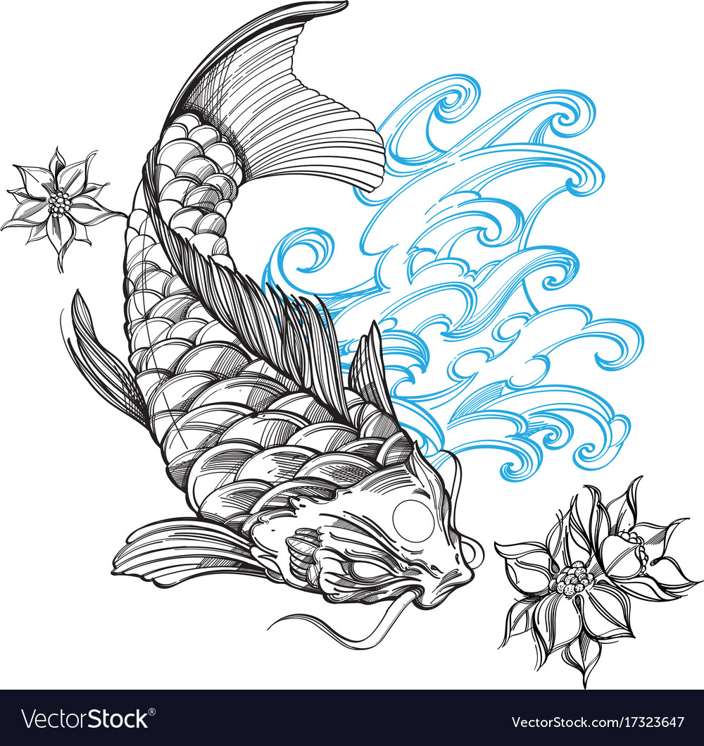 Contour Image Of Koi Fish With Wave And Flower Vector