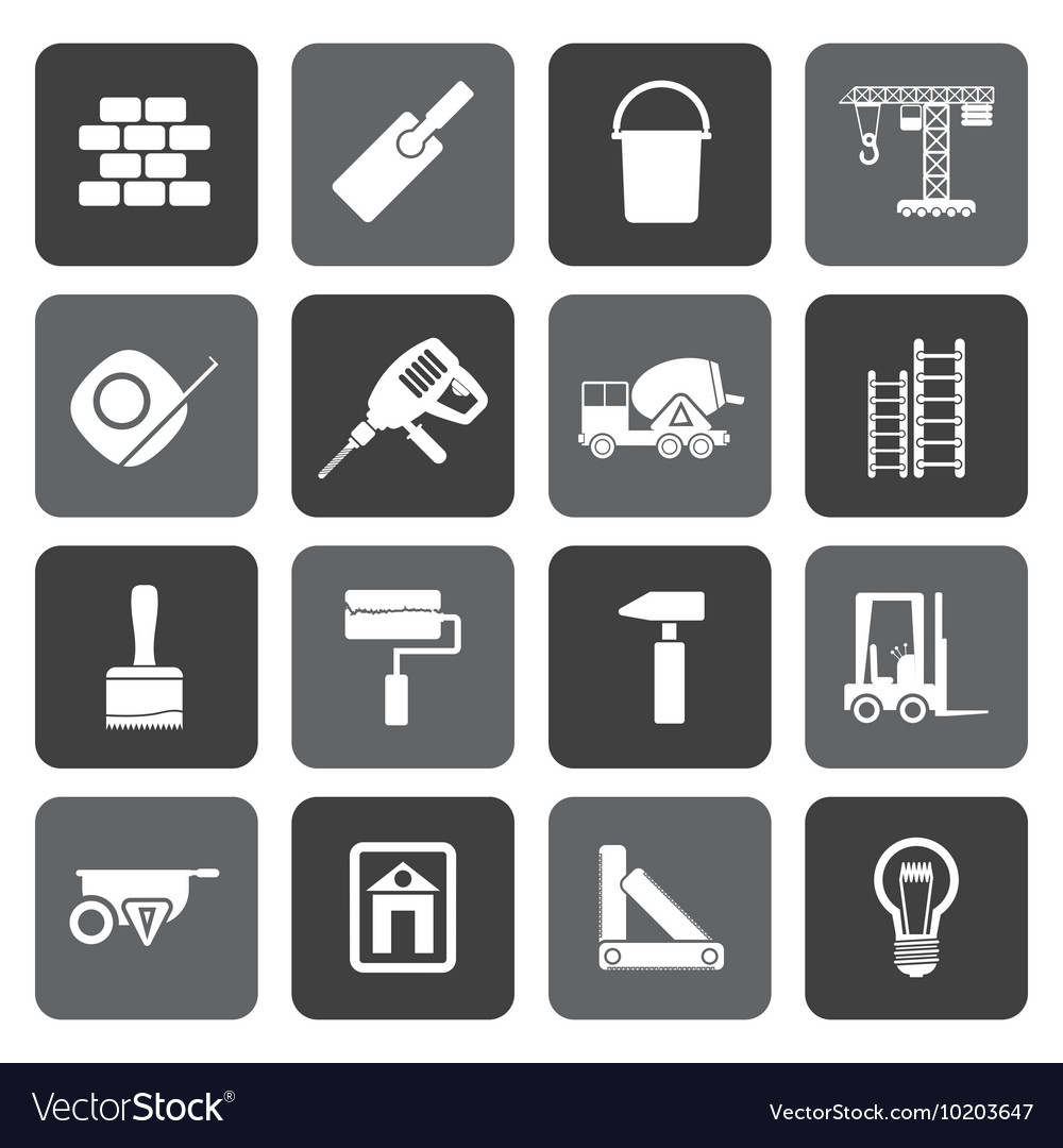 Flat Construction and Building icons vector image