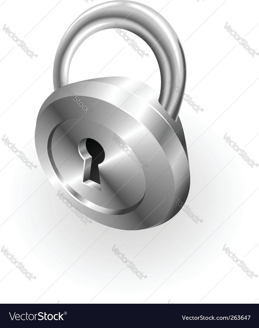 Silver metallic padlock vector image