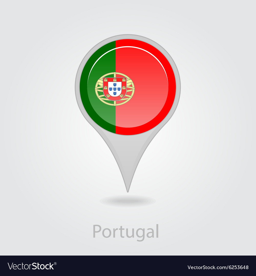 Portugal Flag Pin Map Icon Royalty Free Vector Image - Portugal map icon