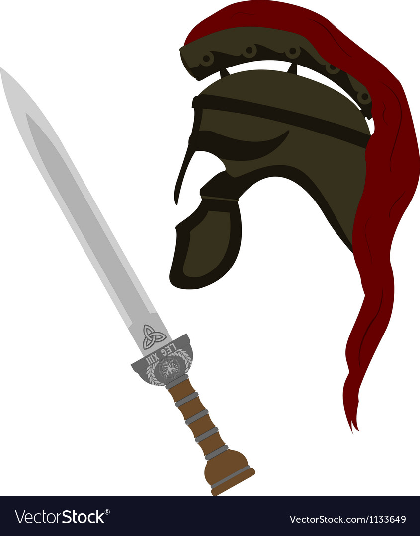 Roman helmet and sword vector image