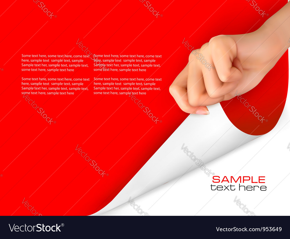 Red background with women hand Vector Image