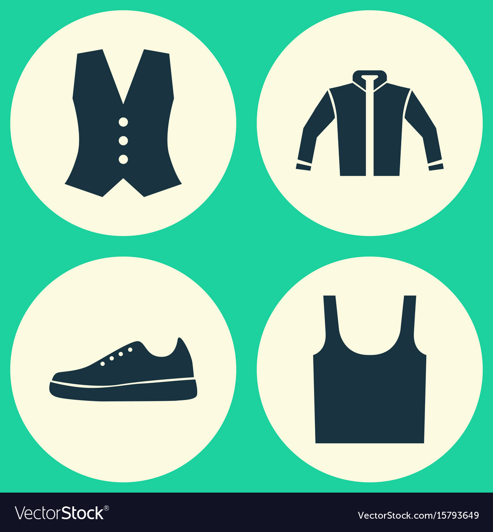 Clothes icons set collection of sneakers vector image