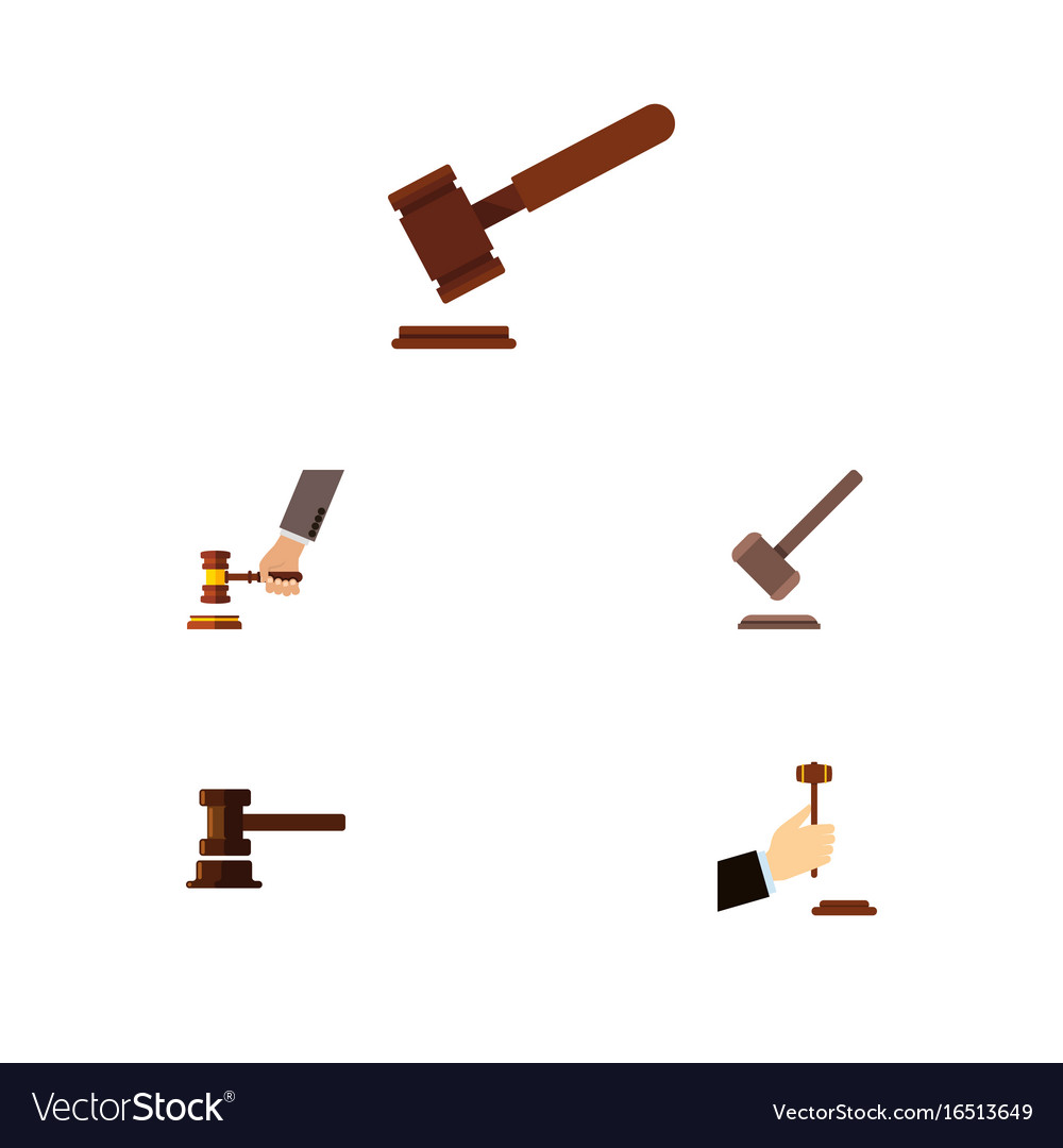 Flat icon hammer set of law justice crime and vector image