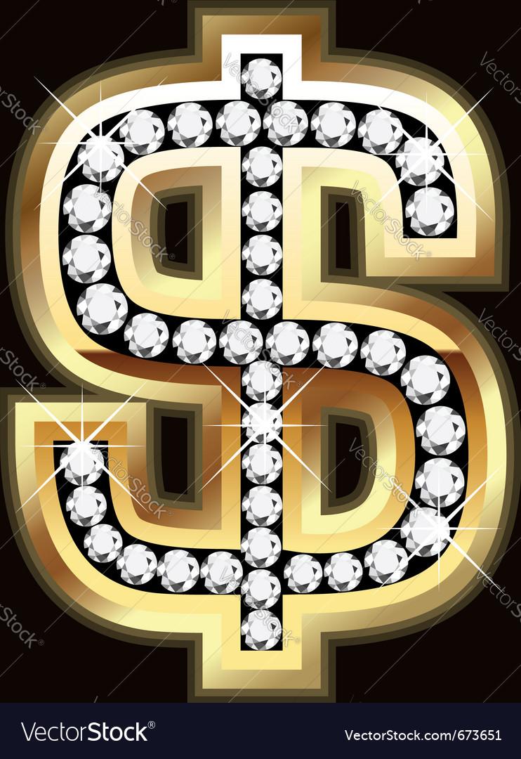 Dollar bling vector image