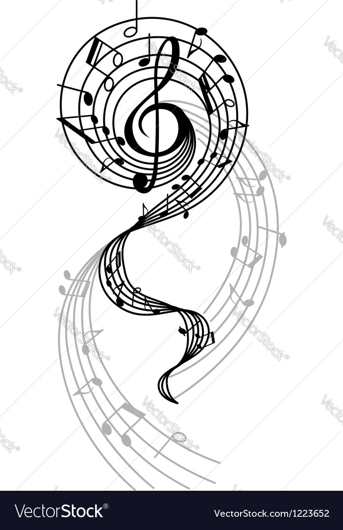 Abstract musical swirl with notes and sounds Vector Image
