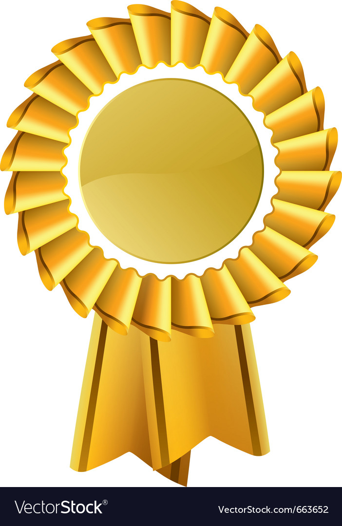 Gold Award Seal Rosette Royalty Free Vector Image