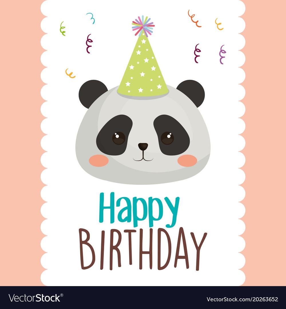 Happy birthday card with bear panda royalty free vector happy birthday card with bear panda vector image bookmarktalkfo Choice Image