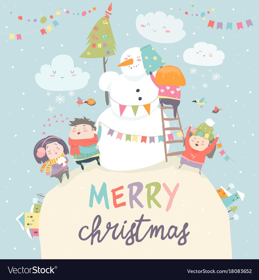 Happy children celebrating christmas vector image