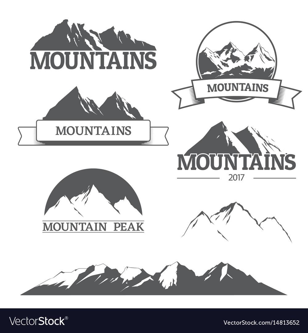 Set of mountain logos on white vector image