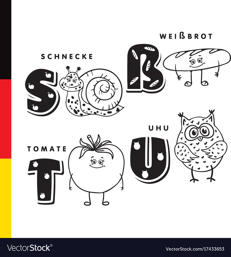 Deutsch alphabet snail white bread tomato owl vector image