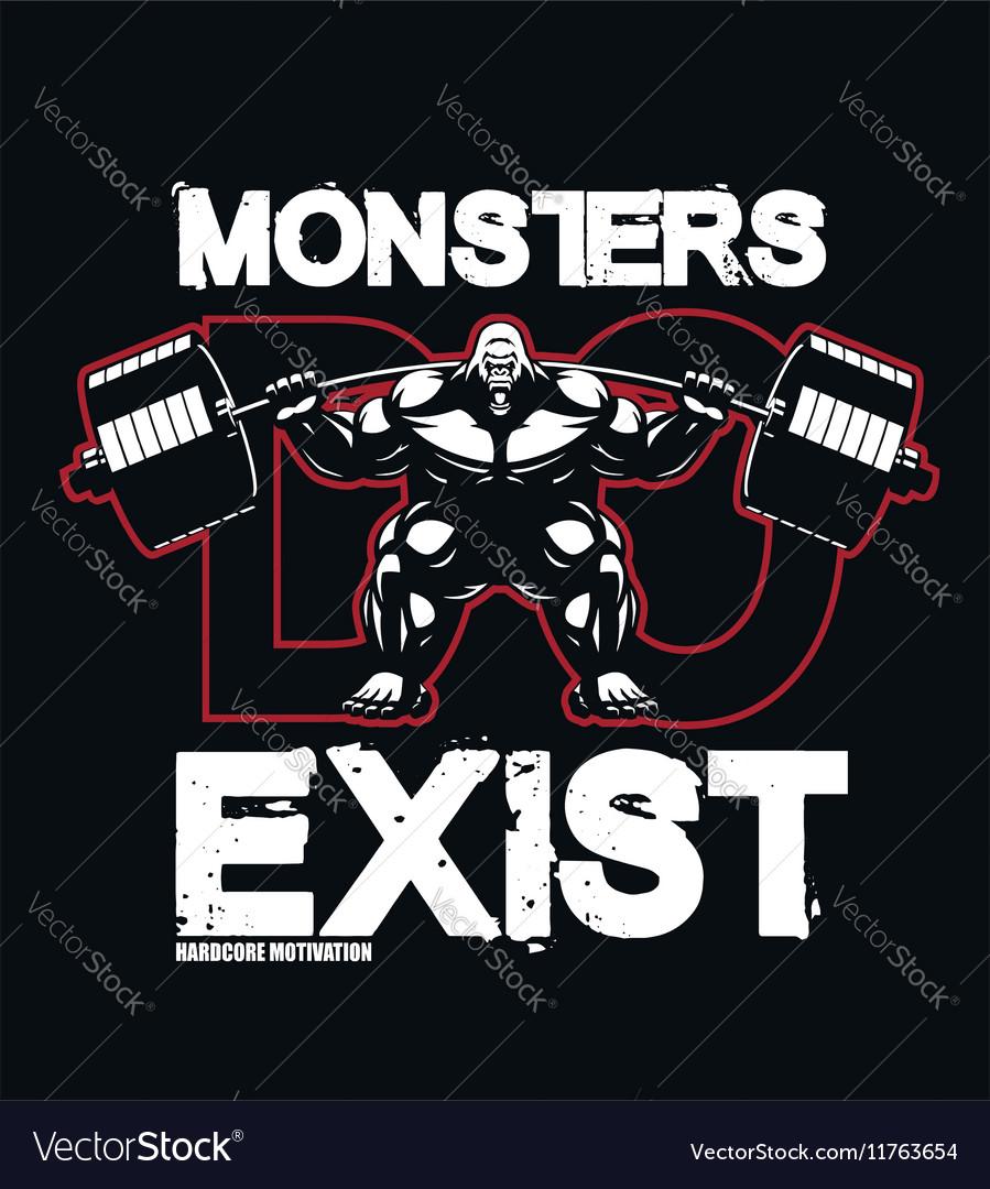 Bodybuilding-monster-fitness- vector image