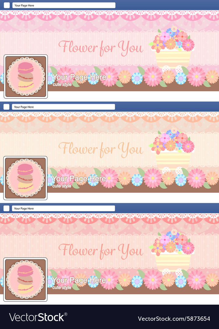 Cute pastel face book page cover banner and vector image