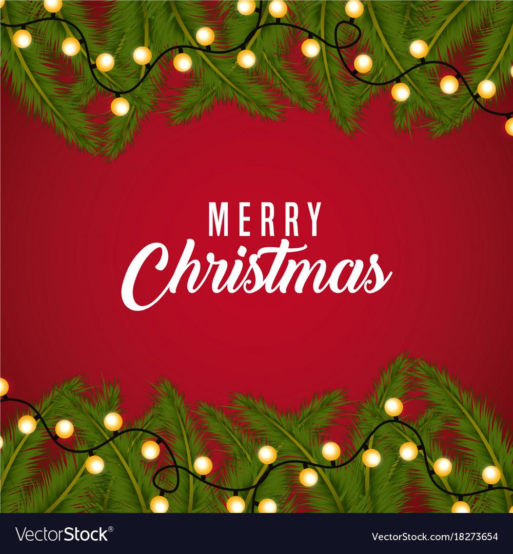 Merry christmas card greeting branch tree border vector image kristyandbryce Choice Image