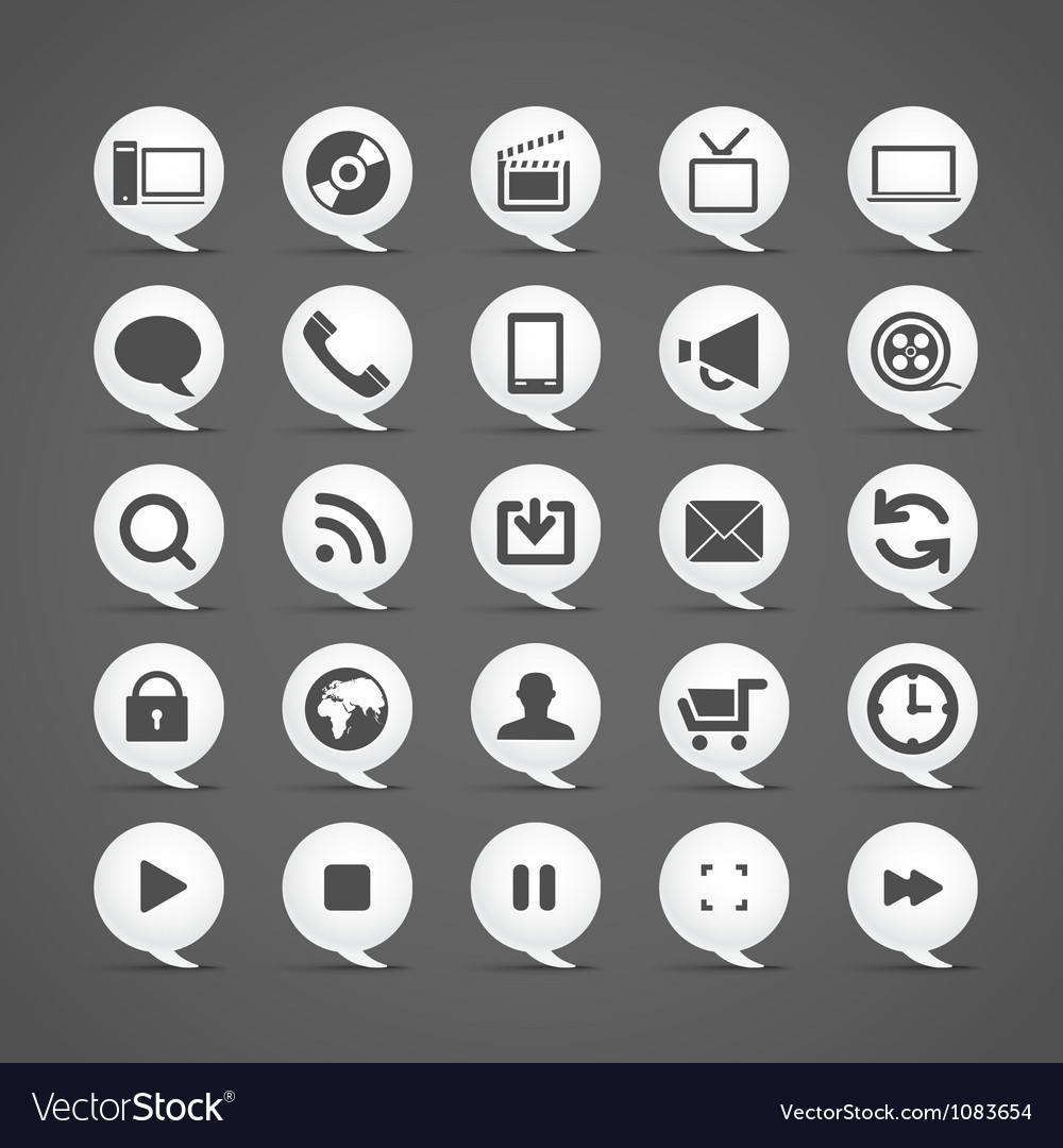 Modern media icons in clouds collection vector image