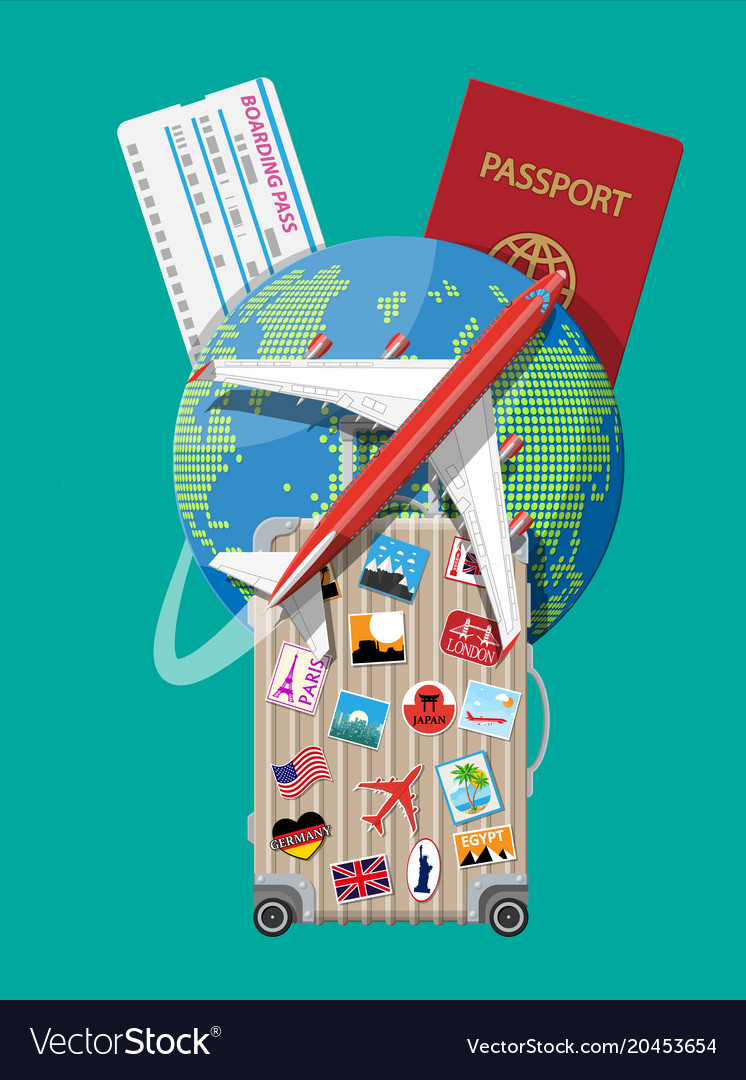 Travel suitcase with stickers and world map vector image gumiabroncs Image collections