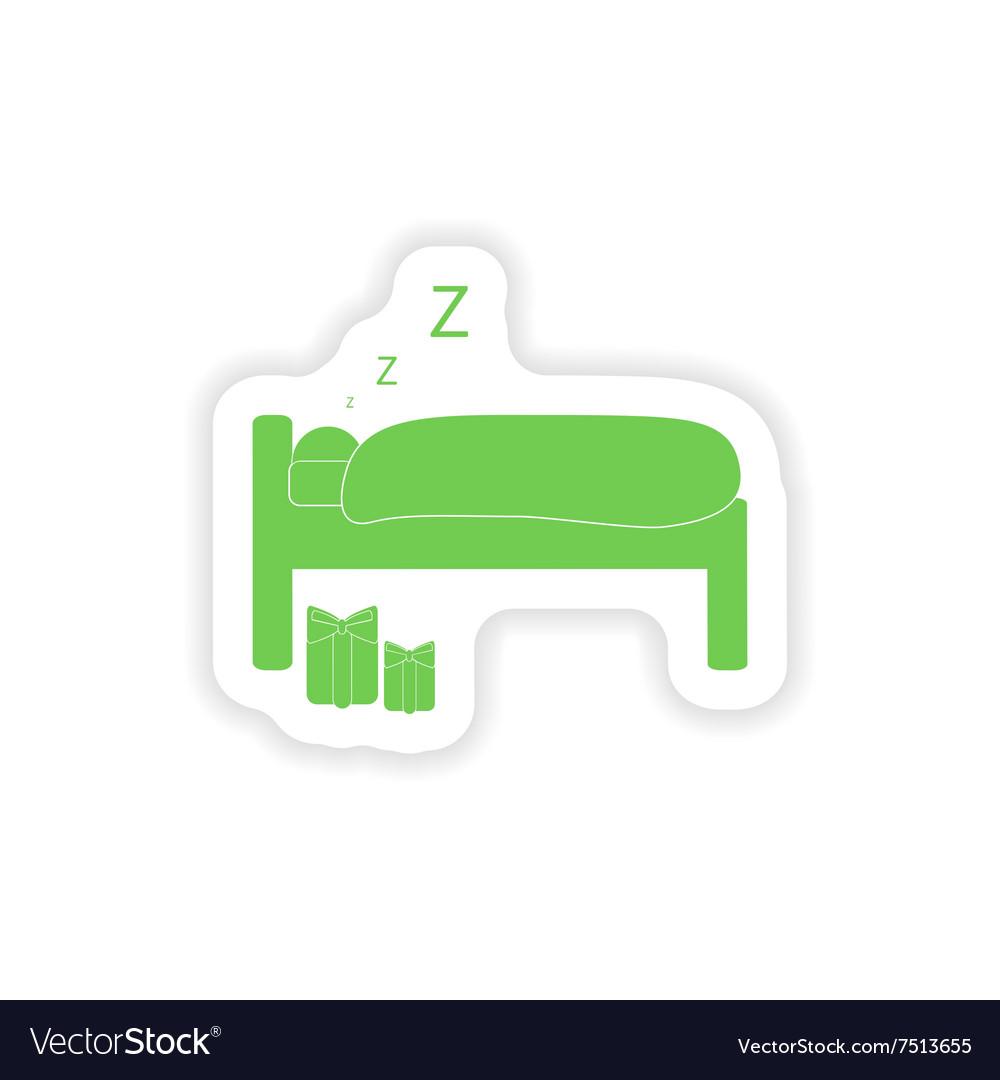 Paper sticker on white background sleeping man