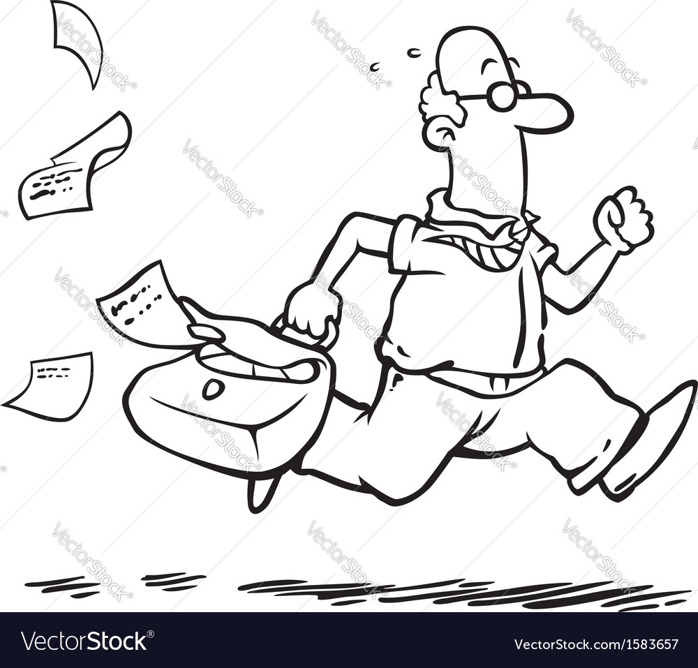 Business man running late for work vector image