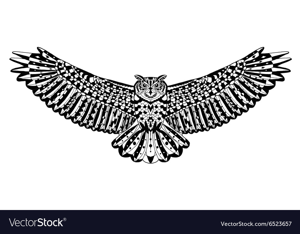 Eagle owl bird Animals Hand drawn doodle Ethnic vector image